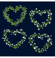 Floral heart frames with white flowers vector image