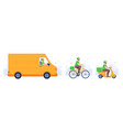 food delivery transport courier in mask deliver vector image