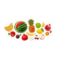 fresh fruit banner food icon set cartoon vector image