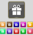 Gift box icon sign Set with eleven colored buttons vector image vector image