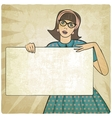 girl with banner in retro style vector image vector image
