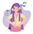 girl with mp3 and headphone listening music notes vector image
