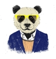 Hand drawn dressed up hipster panda vector image