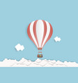 hot air balloon in the sky with clouds origami vector image vector image