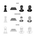 isolated object of checkmate and thin icon set of vector image vector image