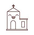 kawaii church building cartoon christmas vector image