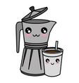 kettle kitchenware utensil kawaii cute cartoon vector image vector image