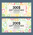line fruits icons discount or gift voucher vector image vector image