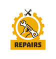 logo repairs the hand that is holding the wrench vector image
