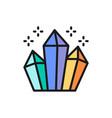 magic crystals diamonds flat color line icon vector image