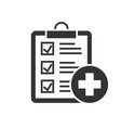 medical report black icon on white background vector image vector image