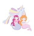 mermaids and unicorn rainbow mane love magic vector image vector image