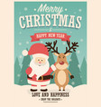 merry christmas card with santa claus vector image vector image