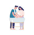 mother and father bathing baflat vector image vector image