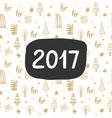 New Year card 2017 year hand lettering vector image vector image