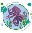 octopus underwater animal in minimalist style vector image