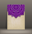 old paper card with purple floral circular pattern vector image vector image