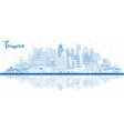 outline taiwan city skyline with blue buildings vector image vector image