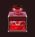 pink transparent glass bottle with strawberries vector image