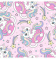 seamless pattern with cute cat unicorn in a cup vector image vector image