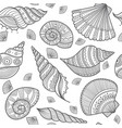 seamless pattern with shells in ethnic boho style vector image vector image
