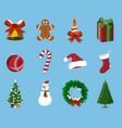 set of christmas 12 label xmas icon cartoon vector image