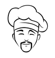 Smiling chinese chef with a goatee beard and toque vector image vector image