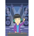 Smiling DJ mixing music on turntables vector image vector image