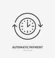 time flat line icon automatic payment concept vector image