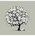 Tree with funny pandas sketch for your design vector image vector image