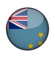 tuvalu flag in glossy round button of icon tuvalu vector image