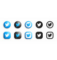 twitter modern 3d and flat icons set vector image