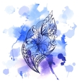 Watercolor background with lace graphic ornament vector image vector image