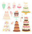 wedding cake pie cartoon style isolated vector image vector image