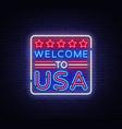 welcome to usa neon sign to usa vector image vector image