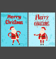 winter holidays greeting card with santa claus vector image vector image