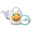 with clock character hard boiled egg ready to eat