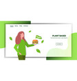 woman holding plant based meat hamburger vector image vector image