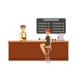 Woman Sitting At The Counter On Bar Chair At The vector image vector image