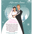 Young couple on the winter background vector image vector image