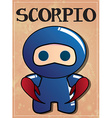 zodiac sign scorpio with cute black ninja vector image vector image