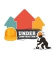 under construction man builder helmet hammer brick vector image