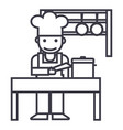 cookershefkitchen restaurant line icon vector image