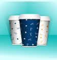 3d realistic set of paper coffee or tea cups mock vector image vector image