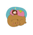 a sleeping girl and a bear vector image vector image