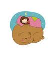 a sleeping girl and bear vector image