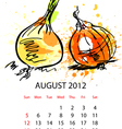 calendar with vegetables for 2012 vector image vector image