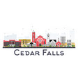 cedar falls iowa skyline with color buildings vector image vector image