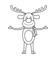 christmas reindeer cartoon in black and white vector image vector image