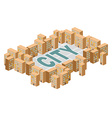 City building Yard among the houses Isometric vector image vector image